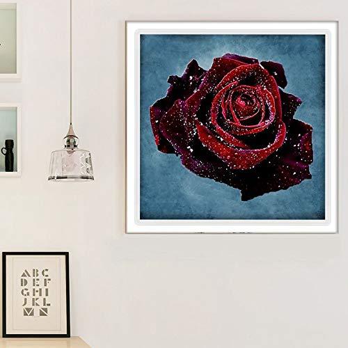 """5D DIY""""Planta de flor rosa roja""""Juego de pintura de diamante para adultos y niños juego de pintura de diamante (por número) manualidades regalos 40x40cm Sin marco"""