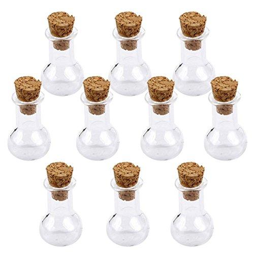 Ndier Mini botella de corcho de cristal para bombillas, frascos de deseo, botella de amor, nota de amor, 10 unidades