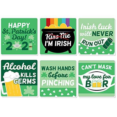 Big Dot of Happiness Quarantine St. Patrick's Day - Funny 2021 Saint Patty's Party Decorations - Drink Coasters - Set of 6
