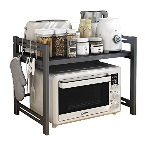 Adjustable Microwave Stand, Toaster Oven Rack Expandable (16.5in-24in), Spice Organizer Shelf for Kitchen Storage, 2-Tier, Space Gray