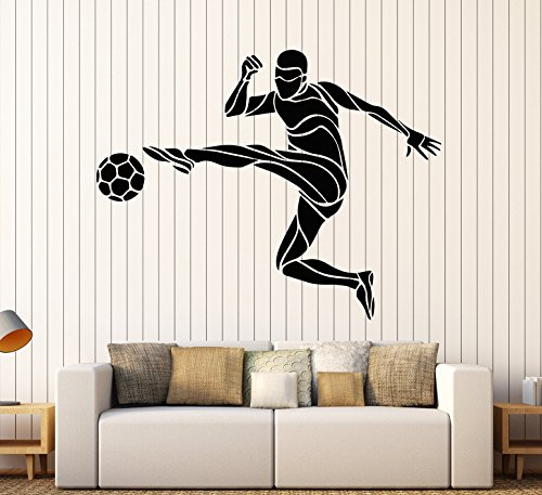 Vinyl Wall Decal Soccer Player Ball Sport Gift for Boys Stickers Large Decor (2326ig) Black