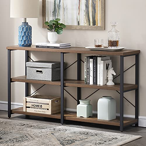 SHOCOKO Console Tables for Hallway, Rustic Sofa Table with Shelves Storage, Wood and Metal Entryway Table for Living Room, Vintage Brown 140 cm