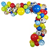 114 Pack Toy Story Party Birthday Balloons Arch Garland, Halloween Costume 12 INCH Cow Pattern Printed Yellow Red Blue Green Latex Balloons for Kids Birthday 1st 3rd 6th Baby Shower Decorations