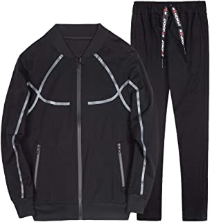 INVACHI Mens Academy Athletic Tracksuit Full Zip Running Jogging Sports Active Wear Jacket and Pants Set
