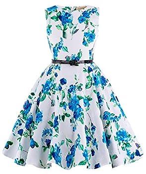 Kate Kasin Sleeveless Cotton Country Flower Summer Casual Dress for Toddler Girls 13-14yrs K250-3