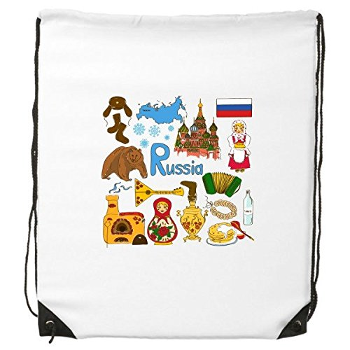 Rusia Paisaje Customs Landmark animales Nacional Bandera residente dieta ilustración patrón cordón mochila líneas finas Shopping creativa medio ambiente poliéster bolsa de hombro bolso