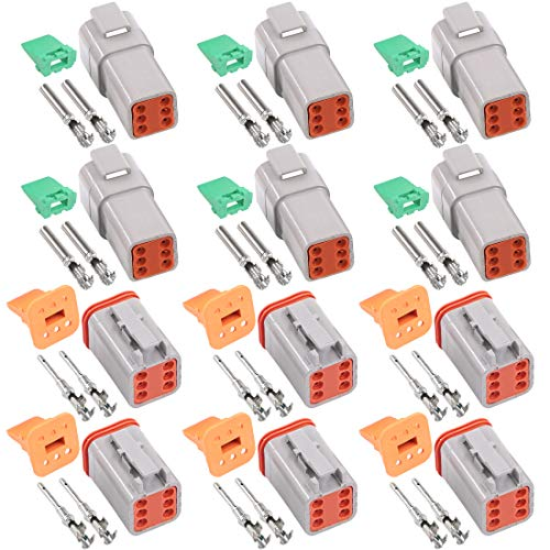 Glarks 78Pcs 6 Pin Way Sealed Gray Male and Female Auto Waterproof Electrical Wire Connector Plug 22-16AWG Connector for Motorcycle, Scooter, Car, Truck, Boats