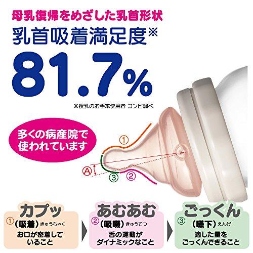 コンビテテオ授乳のお手本LiCO哺乳びん耐熱ガラス製160ml(Sサイズ乳首付)モカ