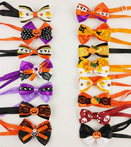 Hixixi 15pcs/Pack Dog Cat Puppy Bow Ties Bowties Collar for Halloween Festival Pet Dog Grooming Accessories