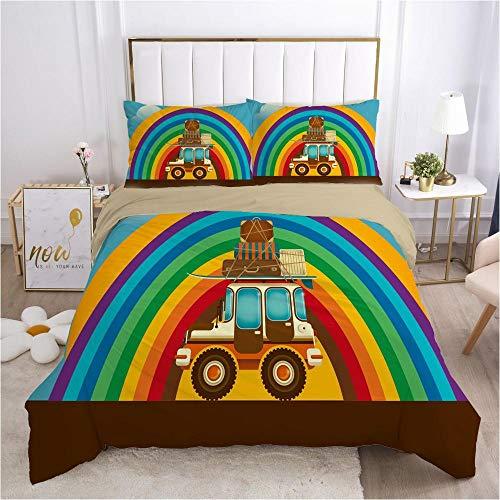 QDoodePoyer Bettwäsche-Set 260x220cm 80x80cm Bunt Cartoon Sieben Farben RegenbogenBettwäsche für Teenager & Jugend · 2 teilig · Wendemotiv · 2 Kissenbezug 80x80 + 1 Bettbezug 260x220cm