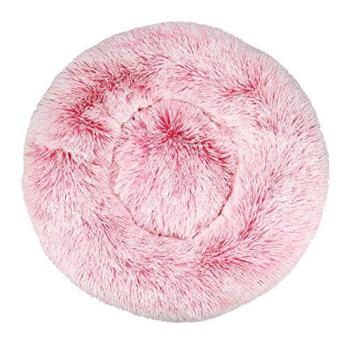 Decdeal - Cama para perros y gatos, redonda, grande, cojín para cama de peluche, para perros y gatos, suave y cálida, 40/50/60/70/80 cm, rosa, gris, naranja, café, azul oscuro