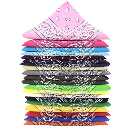 KARL LOVEN Lote de 20 bandanas 100% Algodon Paisley Panuelo Cabeza Cuello Bufanda (Juego de 20, 20 Colores)