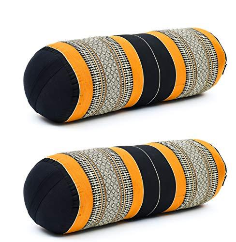 Leewadee Set de 2 Yoga bolsters Grandes – Almohadas tailandesas de kapok Natural, Cojines alargados para Pilates, 65 x 25 x 25 cm, Set de 2, Naranjo Negro