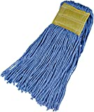 AmazonBasics Cut-End Cotton Commercial String Mop Head, 5 Inch Headband, Small, Blue, 6-Pack