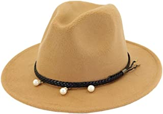 Lei Zhang Women Men Fedora Hat With Pearl Leather Belt Winter Travel Fascinator Hat Wide Brim Church Jazz Hat