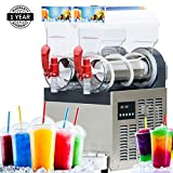 Slushie Machine- Slush Machine with Two 15L Tanks, 110V Fine Ice Slushy Machine and Frozen Drink Machine, with New Digital Controls, a U.S. Solid Product