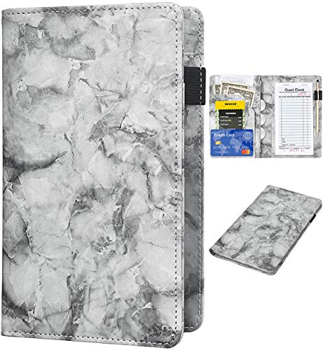 Server Books for Waitress - Marble Texture Leather Waiter Book Server Wallet with Zipper Pocket, Cute Waitress Book&Waitstaff Organizer with Money Pocket Fit Server Apron(Black)