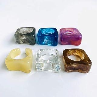 ريترو راتنج أكريليك خواتم ملونة مكتنزة مجموعة مجوهرات إندي للبنات النساء الحجم 7 (6 قطع)