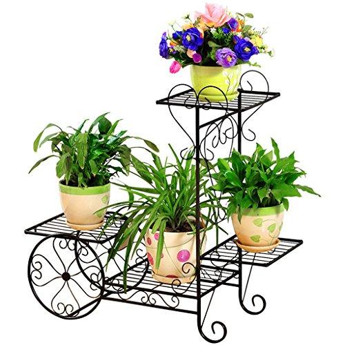 CJH Support de fleur de fer Plancher Pots de fleurs de style européen Salon Balcon Multi-étages Radis vert intérieur Étagère de fleurs multifonctions ( Color : Black )