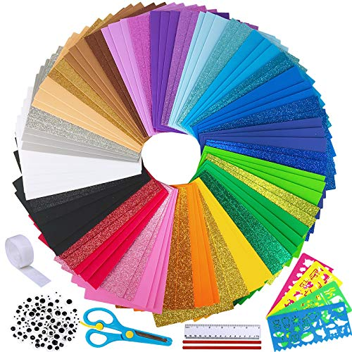 "85 Sheets Bright Craft Foam Sheets Glitter Craft Foam Sheets 17 Assorted Rainbow Colors 9x6"" 2mm Thick with Scissor Stencils Ruler Pencils for Kids Classroom Party Scrapbooks Artwork Projects 9"" x 6"""