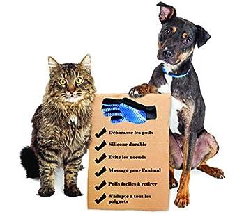 G-MOTIONS - Gants de Toilettage Massage Chien Chat - Nettoyage de Poils d'animaux en Caoutchouc (2 Gants)