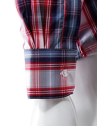 Stylish Plaid Checkered Long Sleeve Dress Shirts S White/Navy