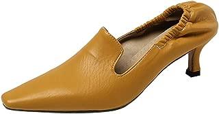 TAOFFEN Women Elegant Square Toe Pumps Mid Heel