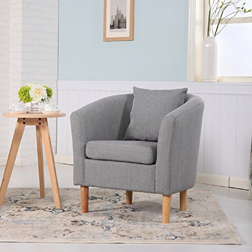 York Fabric Tub Chair Armchair Dining Living Room Office Reception Light Grey