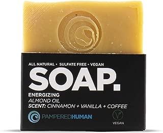Energizing Vegan Bar Soap - Almond Oil, Natural Cinnamon + Vanilla + Coffee Scent (2.8 oz)
