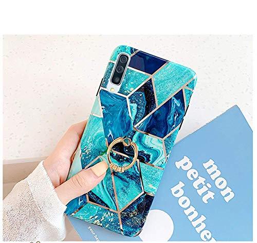 Uposao Compatible con Funda Samsung Galaxy A70 Purpurina Funda Girly Case 3D Geométrico Mármol Diseño + Anillo Soporte Móvil Diamante Glitter Brillante Carcasa Slim Silicona TPU Gel Suave Bump