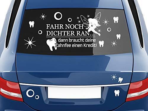 GRAZDesign Autoaufkleber lustig Sprüche, Zahnfee Sterne, Autotattoo Seitenaufkleber / 100x57cm / 090 Silbergrau