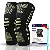 OMAX Knee Compression Sleeve Premium Knee Fit Support Stabilizer Gear Braces For Pain Relief ACL MCL Arthritis Meniscus Tear Recovery For Basketball Weightlifting Running Workout Gym Crossfit - 1 Pair