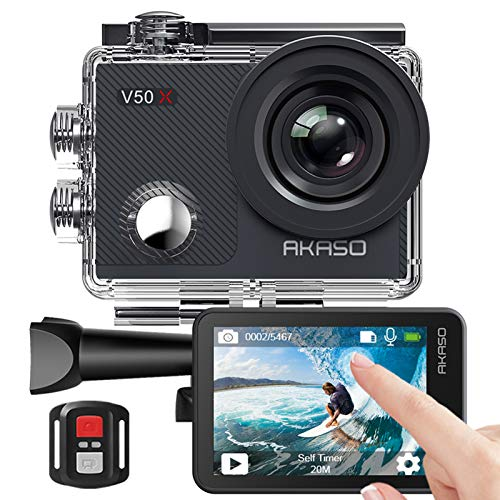 AKASO Action Cam, Native 4K WiFi EIS 40M Touch Screen,Telecomando,Custodia Impermeabi,Kit di Accessori di Montaggio(V50 X)