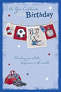 Birthday - Soccer Football icons Nice Verse Open Male Greeting Card