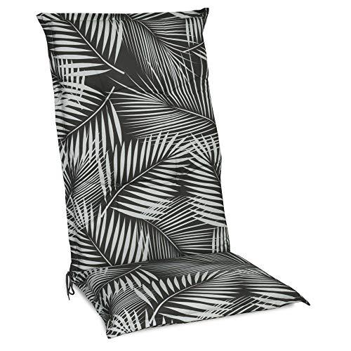 Beautissu Cojín para sillas de Exterior y jardín con Respaldo Alto Tropic 120x50x6 cm tumbonas, mecedoras, Asientos cómodo Acolchado Resistente a Rayos UV