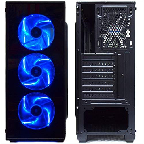 『サイズ 強化ガラス採用 ブルーLEDファン4基搭載 ATXミドルタワーPCケース』の1枚目の画像