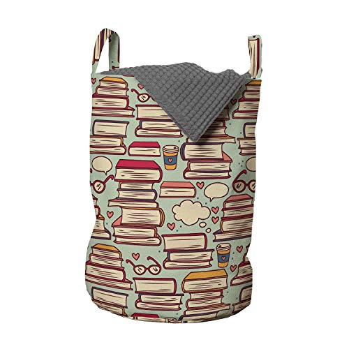 Ambesonne Cartoon Laundry Bag, Stack of Books with Coffee Cups and Eyeglasses Retro Nerdy, Hamper Basket with Handles Drawstring Closure for Laundromats, 13' x 19', Pink Green