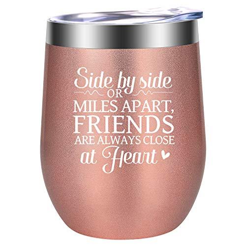 Best Friend, Friendship Gifts for Women - Funny Long Distance Friendship Gifts, Best Friend Christmas Gifts for Friends Female, Best Friends, Her, Soul Sister, Bestie, BFF Gifts - LEADO Wine Tumbler
