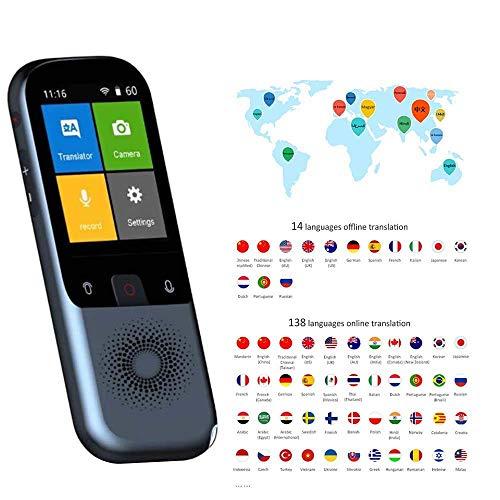 Kacsoo Dispositivo de traducción de idiomas, Traductor de idiomas inteligente, Traducción de voz de bolsillo de idiomas instantáneos de 2,4 pulgadas, Traductor de fotos WiFi Hotspot sin conexión
