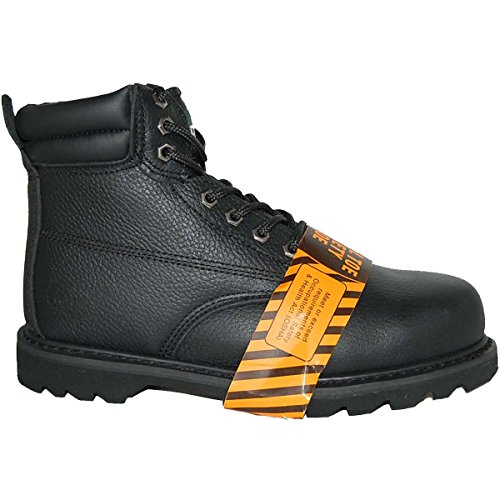 KRAZY Safety Steel Toe LEATHER 6 Inch Black Water Resistant Men's Work Boot Size 9.5