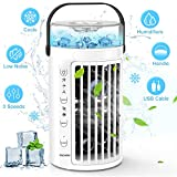 PECHAM Portable Air Conditioner Fan, Personal Air Cooler, Desktop Cooling Fan, Mini Space Evaporative Air Cooler LED Night, Office Cooler Humidifier & Purifier,Perfect for Office Dorm Nightstand