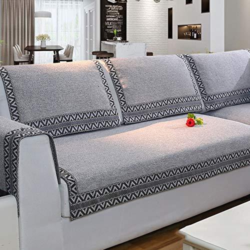 Z-one Sofa Abdeckung Retro Dekoration Sofa Überwurf Baumwolle Anti-rutsch Schmutzabweisend Kissen beschützer Für L förmige- Couch Schnitt-grau 110x210cm(43x83inch)