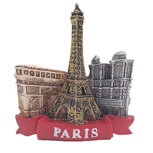 Aimant de réfrigérateur 3D Tour Eiffel, Arc de Triomphe, Notre Dame de Paris France - Cadeau de voyage - Décoration de maison et de cuisine - Aimant de réfrigérateur - Collection Paris