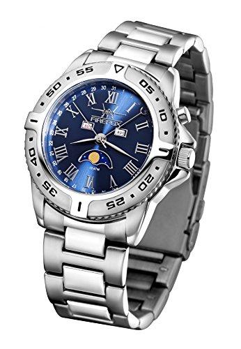 FIREFOX maanfasehorloge FFS01-503 Sunray blauw massief roestvrij staal dameshorloge herenhorloge polshorloge veiligheidsvouwsluiting 10 ATM waterdicht