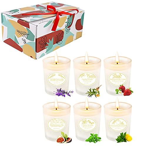 Yinuo Candle Velas perfumadas 6 juegos , vidrio mate, 150 horas encendidas velas de aromaterapia cera de soja alivio del estrés regalos para mujeres Regalos para ella