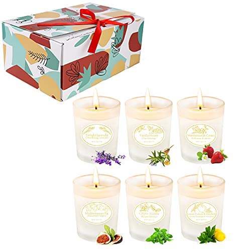 Yinuo Candle Scented Candles Gift Set 6 Pack, Frosted Glass Candles Soy Wax 120 to150 Lasting Hours, Aromatherapy Candles Stress Relief Gifts for women or Her,Best gifts for Mother's Day