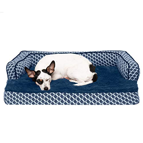Furhaven Pet Dog Bed - Orthopedic Plush Faux Fur and Décor Comfy Couch Traditional Sofa-Style Living Room Couch Pet Bed with Removable Cover for Dogs and Cats, Diamond Blue, Medium