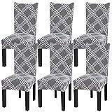 Fuloon Stuhlhussen 6er Set Universal Stretch Stuhlbezüge bi-Elastic Spannbezug Abnehmbare & Waschbar Stuhl Abdeckungen für Hochzeit Bankett Partei (6 Stück)
