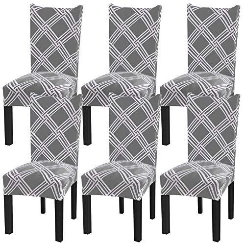 Fuloon Stuhlhussen Universal Stretch Schwingstühl Stuhlbezüge Stuhlbezug für Haus Esszimmer Moderne Hochzeit Bouquet, Hotel, Restaurant Dekor (6 Stück)