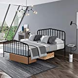 Giantex Metal Bed Frame Queen Size, Metal Bed Platform with Vintage Headboard & Footboard, Heavy Duty Steel Slat and 9-Leg Support, Mattress Foundation Box Spring Replacement